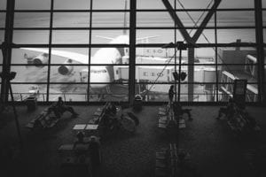 Airport waiting area - black and white image