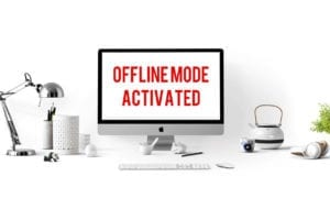 Computer with Offline Mode Activated Text
