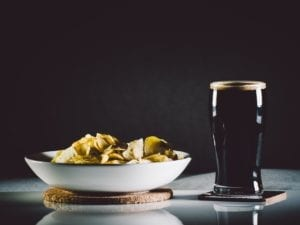 Food and Beer with dark background