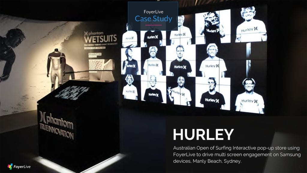 FoyerLive displays at Hurley surf event.